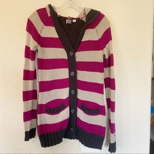 Roxy Blue and Purple Striped Hooded Sweater Small
